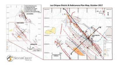 Las Chispas District & Babicanora Plan Map, October 2017 (CNW Group/SilverCrest Metals Inc.)