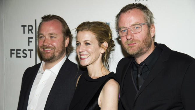 """Tom Berninger, from left, Carin Besser and Matt Berninger attend the premiere of """"Mistaken for Strangers"""" during the opening night of the 2013 Tribeca Film Festival on Wednesday April 17, 2013 in New York. (Photo by Charles Sykes/Invision/AP)"""