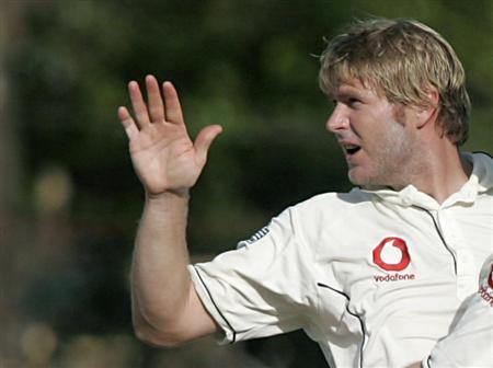 England's Matthew Hoggard celebrates after taking the wicket of Sri Lanka's Sanath Jayasuriya during the third day of the first test cricket match in Kandy