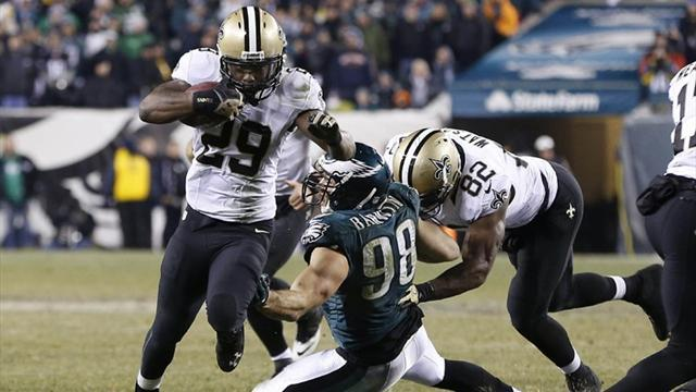 American Football - Saints end road jinx with play-off win over Eagles
