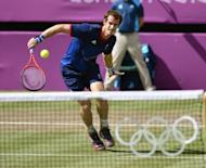 Britain's Andy Murray during his men's tennis singles final against Roger Federer at the London Olympics on August 5. Murray takes the third seeding at Cincinnati despite the Scot having some doubt concerning his fitness after complaining of knee pain and pulling out after his first match in Toronto