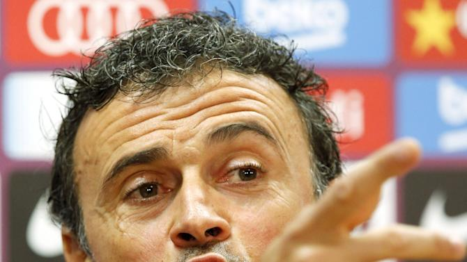 Barcelona's coach Luis Enrique gestures during a news conference after a training session at the Barcelona training grounds Ciutat Esportiva Joan Gamper in Sant Joan Despi near Barcelona