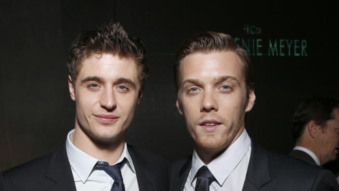 """Max Irons and Jake Abel attend the after party for the LA premiere of """"The Host"""" at the ArcLight Hollywood on Tuesday, March 19, 2013 in Los Angeles. (Photo by Todd Williamson/Invision/AP)"""