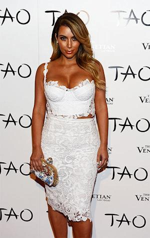Kim Kardashian Wears a Sexy, White Lace Bustier Dress At Las Vegas Birthday Party: Pictures