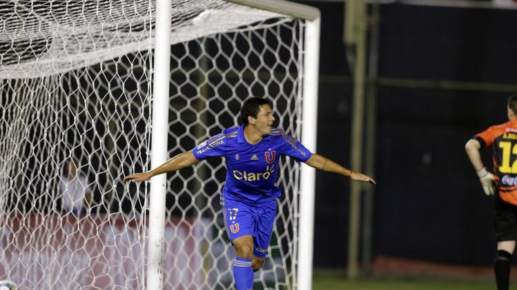 Isaac Díaz of Chile's Universidad de Chile celebrates a goal during their Copa Libertadores soccer match against Paraguay's Guarani in Asuncion