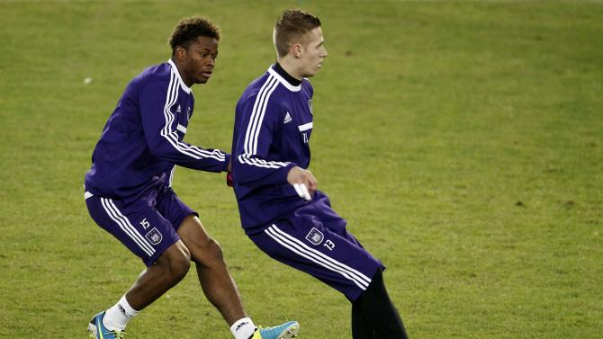 Anderlecht's Kaminski and Cyriac take part in a training session at Karaiskaki stadium in Piraeus near Athens