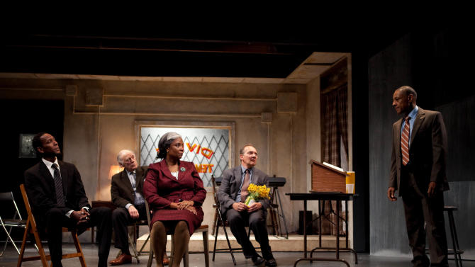 """This undated publicity photo released by Boneau/Bryan-Brown shows, from left, Ron Cephas Jones, Bob Dishy, Tonya Pinkins, Zach Grenier and Giancarlo Esposito in a scene from John Patrick Shanley's """"Storefront Church,""""  in New York.  (AP Photo/Boneau/Bryan-Brown, Kevin Thomas Garcia)"""