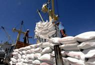 Rice imported from Vietnam is unloaded in the Manila port of Tabaco. Philippine imports grew at their slowest rate in one and a half years in May, largely due to a steep decline in oil and cereal purchases, the government said Tuesday