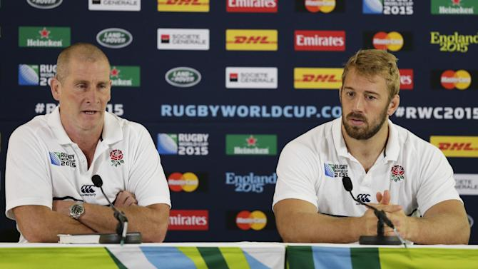 England head coach Stuart Lancaster and Chris Robshaw during a press conference