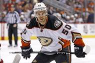 In this Saturday, Jan. 14, 2017, photo, Anaheim Ducks center Antoine Vermette pauses on the ice during the first period of an NHL hockey game against the Arizona Coyotes in Glendale, Ariz. Vermette is facing the likely prospect of a 10-game NHL suspension for slashing linesman Shandor Alphonso during the Duck's game on Tuesday, Feb. 14. (AP Photo/Ross D. Franklin)