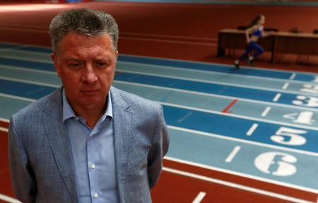 All-Russian Athletics Federation (ARAF) president Shlyakhtin speaks during an interview in Moscow