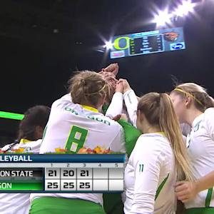 Recap: Oregon sweeps Oregon State in women's volleyball