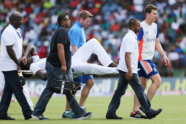 Cricket: West Indies' Jason Holder is stretchered off after sustaining an injury