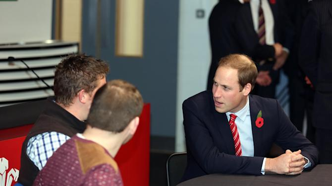 Britain's Prince William meets injured WRU rugby players during a visit to the Millennium Stadium to watch the International rugby match between Wales and South Africa, in Cardiff