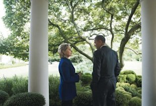 Clinton with the president. Photo by Annie Leibovitz for Vogue