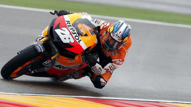 Pedrosa edges Lorenzo in wet Aragon practice