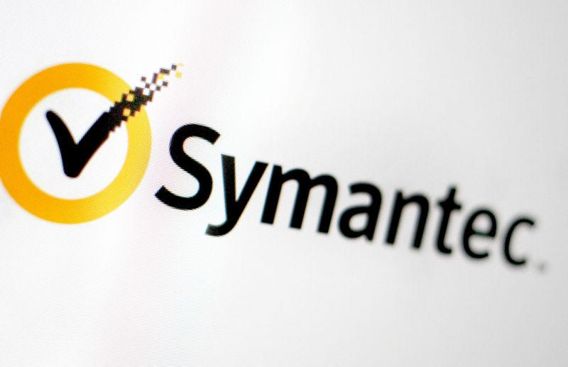 FILE PHOTO - The Symantec logo is pictured on a screen
