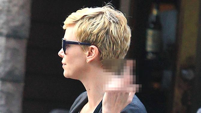 Exclusive... Charlize Theron Is Not Happy After Lunch