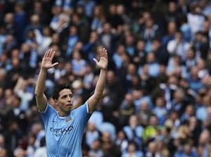 Manchester City's Samir Nasri celebrates after scoring against West Ham United during their English Premier League soccer match in Manchester