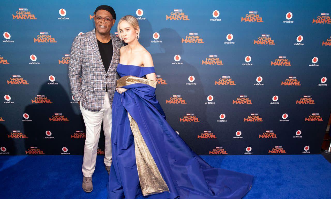 <p>山繆傑克森和布麗拉森於英國時間2019年2月27日出席了在英國倫敦舉辦的《驚奇隊長》首映。(圖/StillMoving.net for Disney) </p>