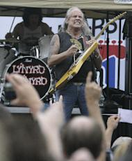 FILE - In this Sept. 4, 2011 file photo, Lynyrd Skynyrd performs before the NASCAR Atlanta Sprint Cup AdvoCare 500 auto race at the Atlanta Motor Speedway, in Hampton, Ga. Lynyrd Skynyrd is performing at the Republican Convention this year. (AP Photo/Mark Young)