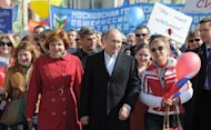 Russian president-elect and Prime Minister Vladimir Putin attends a May Day rally in Moscow, May 1. Putin supporters unveiled plans on Saturday to draw more than 50,000 people onto the streets of Moscow in a show of force ahead of the strongman's inauguration to a third term as president