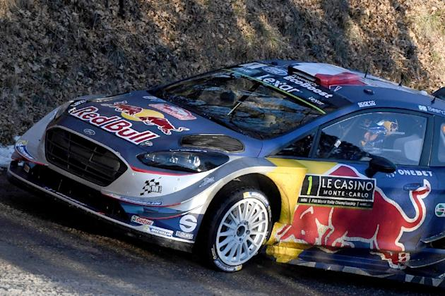 French's driver Sebastien Ogier and his co-pilot Julien Ingrassia steer their Ford Fiesta WRC on January 18, 2017 in Gap, southeastern France, during the shakedown of the 85rd Monte-Carlo Rally, t