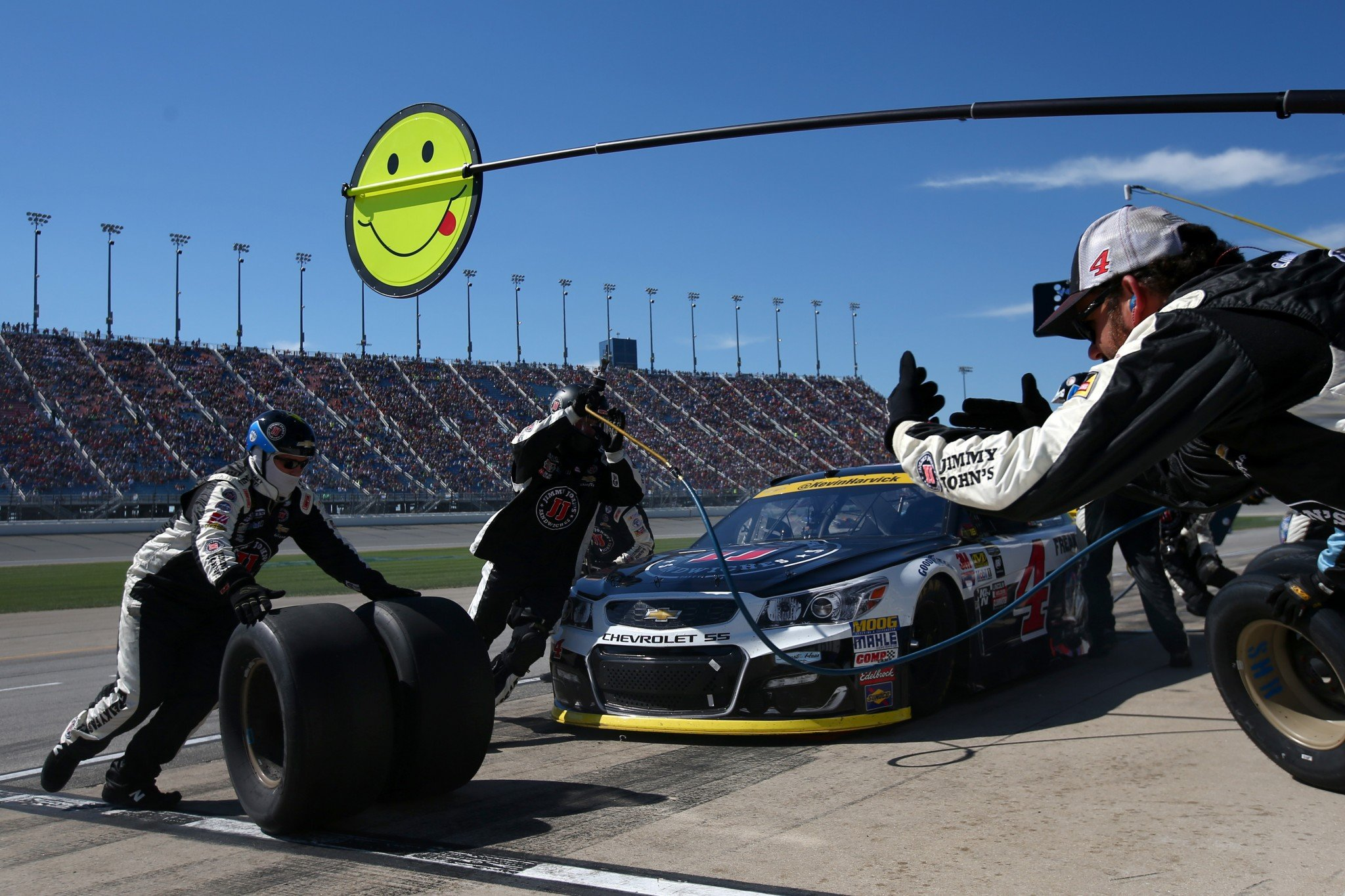 Kevin Harvick got caught on pit road when a caution came out for a loose wheel (Getty)