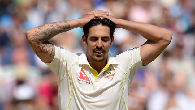 Australia's Mitchell Johnson looks dejected