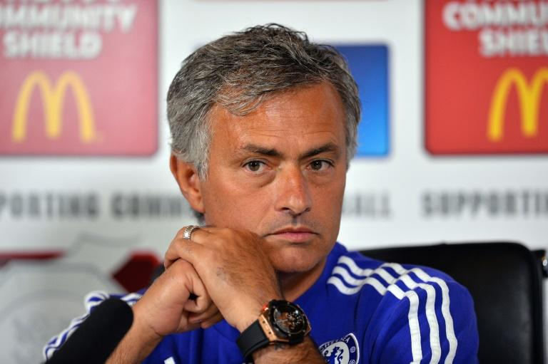 Chelsea's Portuguese manager Jose Mourinho speaks during a press conference at Chelsea's training ground, Stoke D'Abernon, south of London on July 31, 2015