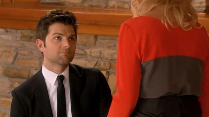 """Question: On """"Parks and Recreation,"""" how did Leslie Knope react to boyfriend Ben's incredibly romantic proposal?"""