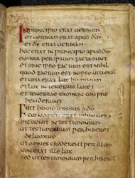 This photo, released by The British Library Tuesday April 17 2012, shows a page in the St. Cuthbert Gospel, a remarkably preserved palm-sized book which is a manuscript copy of the Gospel of John in Latin which was bought from the British branch of the Society of Jesus (the Jesuits), the library said Tuesday April 17, 2012. The small book - 96 mm (3.8 inches) by 136 mm (5.4 inches) - has an elaborately tooled red leather cover. It comes from the time of St. Cuthbert, who died in 687, and it was discovered inside his coffin at Durham Cathedral when it was reopened in 1104. (AP Photo / The British Library)
