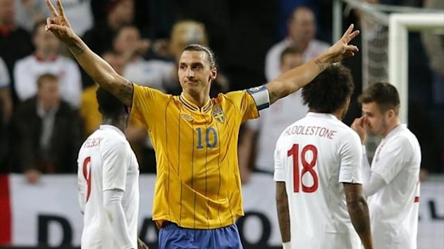 Sweden's Zlatan Ibrahimovic celebrates after scoring four against England (Reuters)