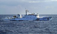 A Chinese Marine Surveillance ship cruises inside waters around the disputed islands known as the Senkaku islands in Japan and the Diaoyu islands in China, in the East China Sea, on January 19, 2013. China and Japan both claim the potentially energy-rich islands in the East China Sea with each side offering historical arguments