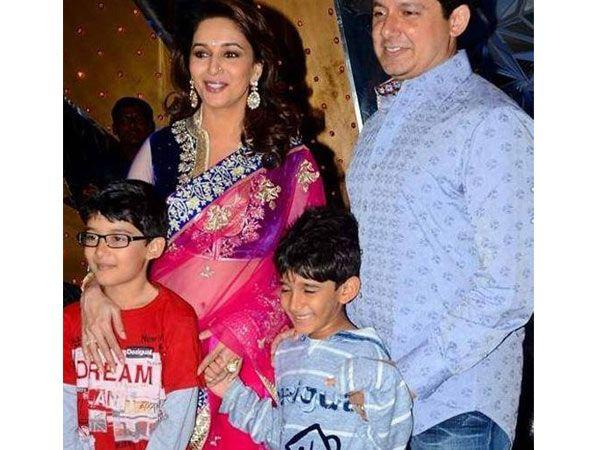 Image courtesy : iDiva.comNames: Aarin and Ryan Parents: Madhuri Dixit and husband Dr. Nene Meaning: Ryan is an Irish baby name that means king, while Aarin means mountain strength.  Related Articles