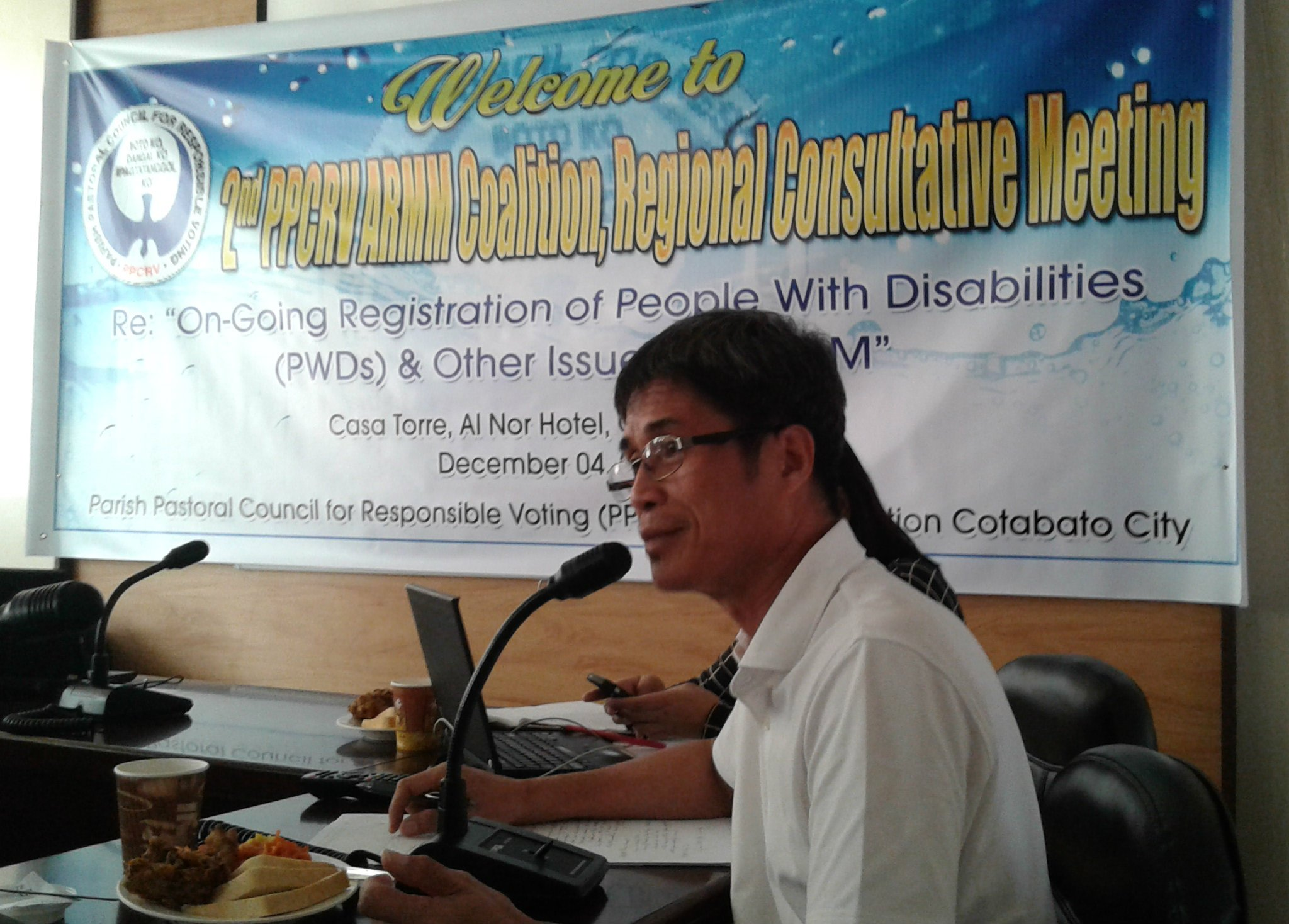 Fr. David Procalla, PPCRV's regional coordinator for Mindanao and the ARMM, raises the need for information dissemination campaigns for PWD voters not just in schools but also in churches and mosques. (Photo by JAKE SORIANO)