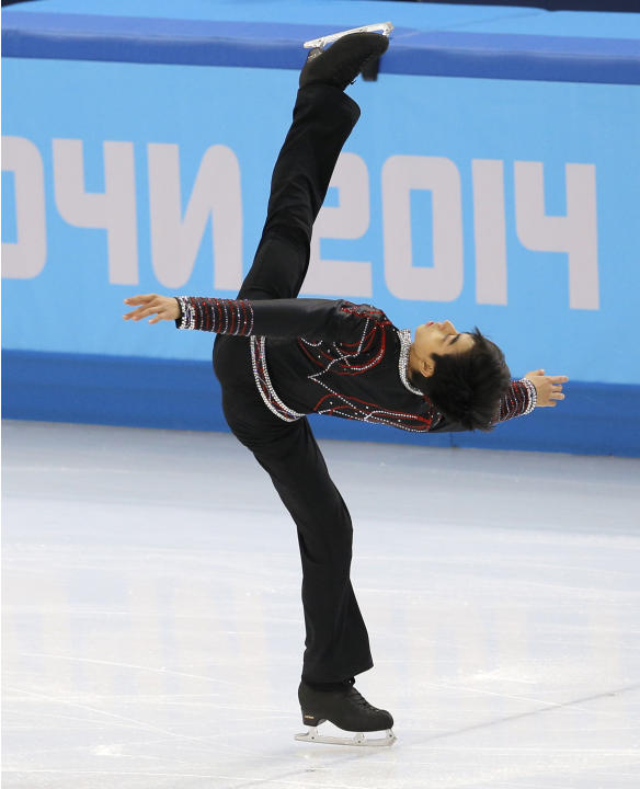 Michael Christian Martinez of the Philippines competes in the men's free skate figure skating final at the Iceberg Skating Palace during the 2014 Winter Olympics, Friday, Feb. 14, 2014, in Sochi, Russ