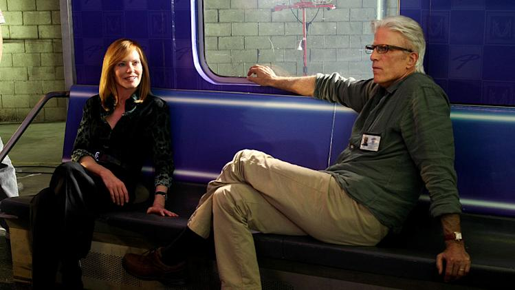 "Marg Helgenberger as Catherine Willows and Ted Danson as D.B. Russell on ""CSI: Crime Scene Investigation."""