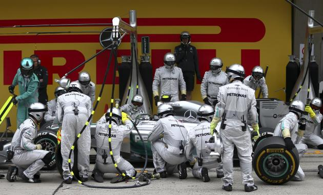 Mercedes Formula One driver Nico Rosberg of Germany pits during the Chinese F1 Grand Prix at the Shanghai International Circuit