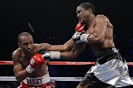 Randall Bailey (L) and Mike Jones exchange punches during their IBF welterweight title fight on June 9. Bailey lived up to his reputation as a power puncher with an 11th-round knockout of previously unbeaten Jones in a fight for the vacant IBF welterweight title