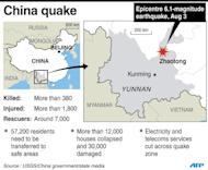 Updated map locating the epicentre of a 6.1-magnitude quake that hit China's Yunnan province on Sunday killing at least 398 people