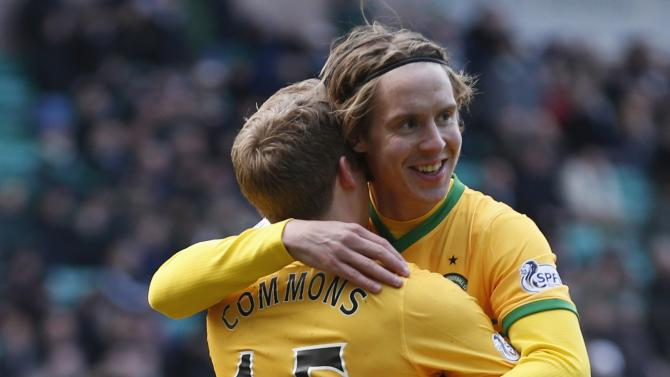 Celtic's Commons celebrates his goal with teammate Johansen against Hibs during their Scottish Premier League soccer match at Easter Rd Stadium in Edinburgh, Scotland