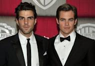 """Actors Zachary Quinto (L) and Chris Pine at the InStyle/Warner Bros. party in 2009. Pine and Quinto, who played Captain James T. Kirk and Spock in the 2009 film reboot of """"Star Trek"""", will give voice to those characters in a new videogame"""