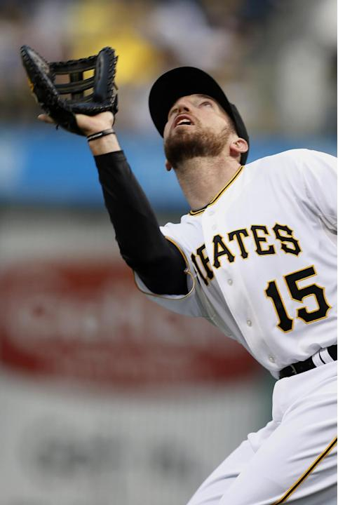 Pittsburgh Pirates first baseman Ike Davis, who was acquired from the New York Mets in a trade Friday, makes a catch of a pop fly by Milwaukee Brewers' Mark Reynolds in the second inning of the ba
