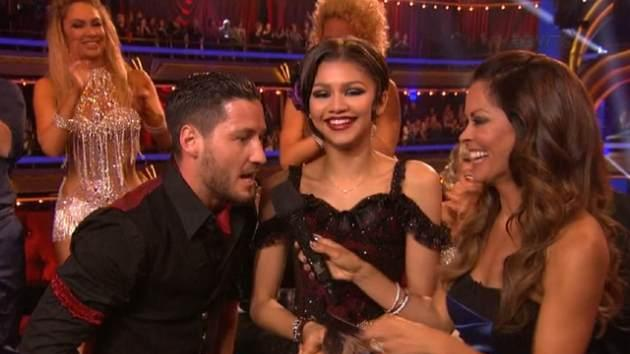 Val Chmerkovskiy dedicates the two 10s he and Zendaya earned to the people of Boston, 'Dancing with the Stars,' April 15, 2013 -- ABC