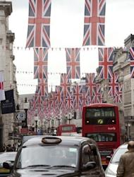 Britain's Union flags line a street in London on June 1. Britons have begun four days of festivities for Queen Elizabeth II's diamond jubilee, turning out in droves for events around the country in a surge of enthusiasm for the monarchy