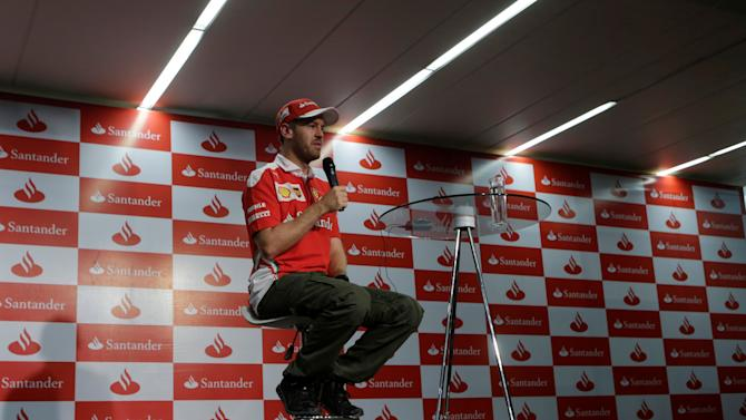 Ferrari Formula One driver Sebastian Vettel of Germany attends a news conference in Mexico City