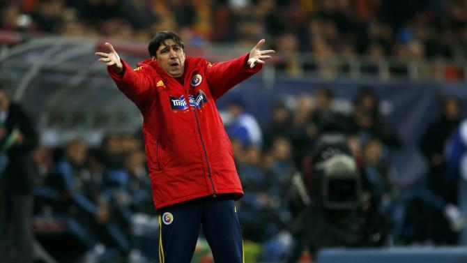 Romania's head coach Piturca reacts during their international friendly soccer match against Argentina at the National Arena in Bucharest