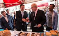 David Cameron offering Boris Johnson cake during a campaign visit