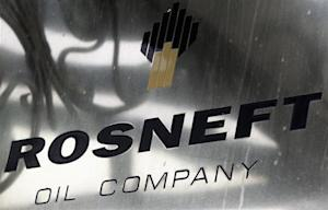 A logo of Russian state oil firm Rosneft is seen at its office in Moscow
